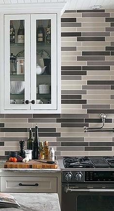 Linear Glass Tile Backsplash Mix