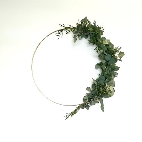 "27"" Golden Frame Holiday Wreath with Eucalyptus Greens"