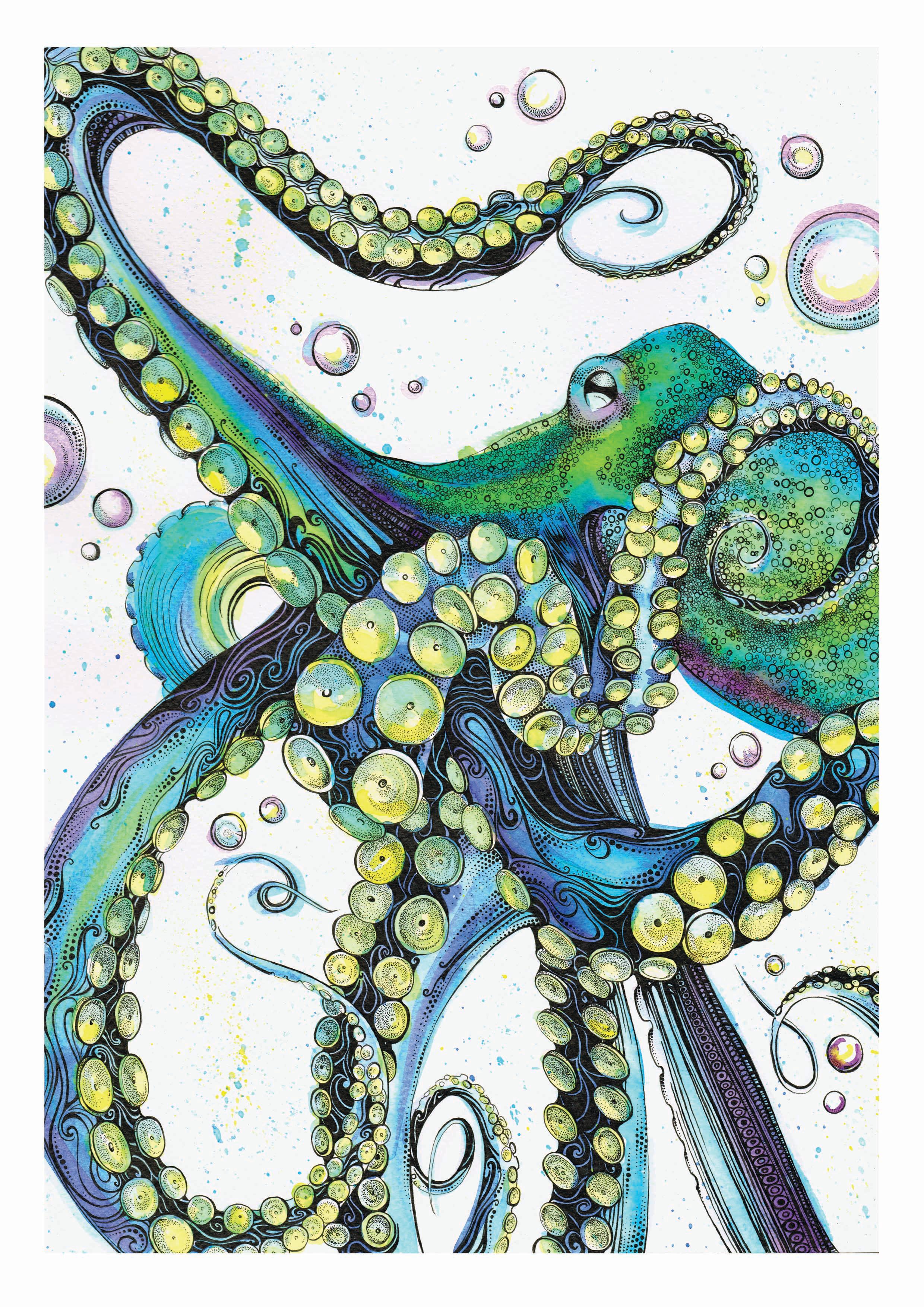 Blue Octopus A4