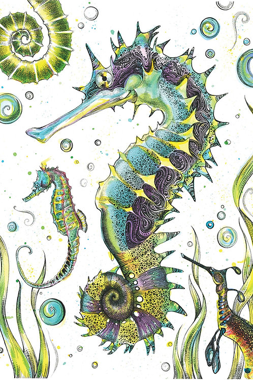 Seahorses Original Art A3
