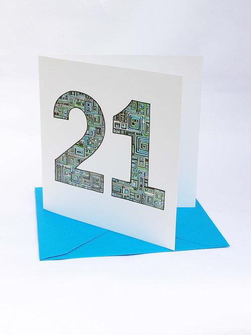 A21 21st Birthday Card