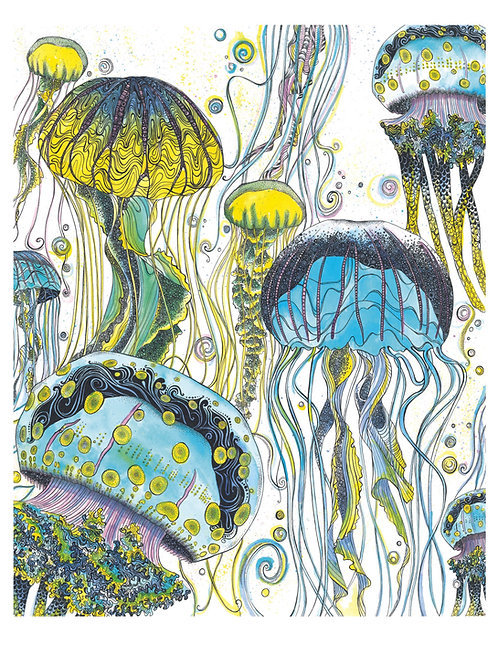 Blue Jellyfish Art Print PRBLUJA4/A3