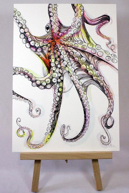 PRPINKA5/A4/A3 Pink Octopus Fine Art Print