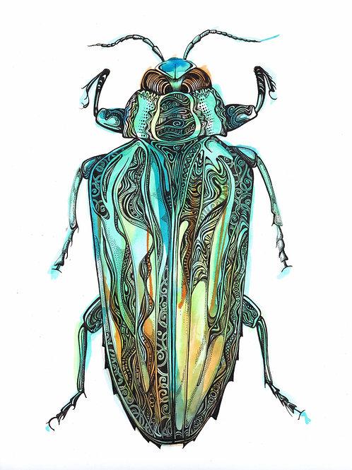 Green Beetle Original Art