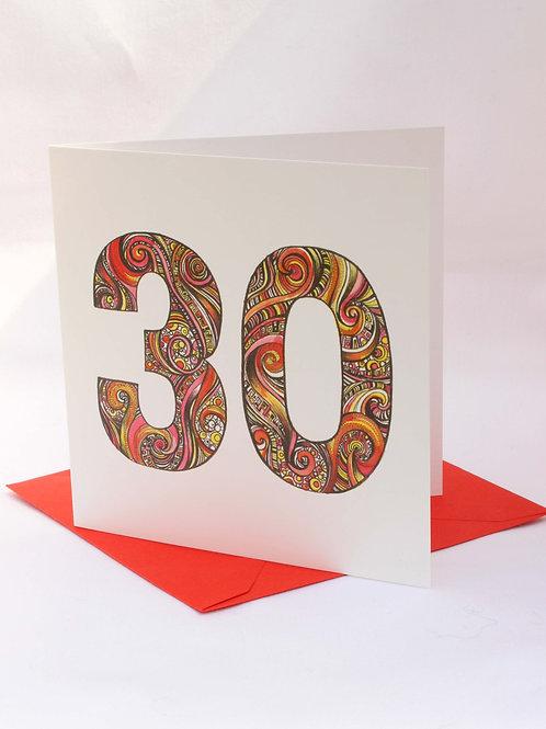 A30 30th Birthday Card