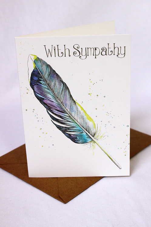 013 'With Sympathy' Feather Card