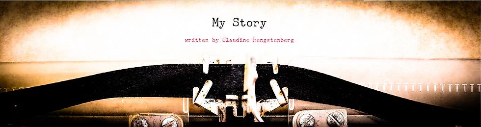 """Schreibmaschine schreibt """"My story - written by Claudine Hengstenberg"""""""