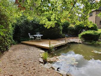 decking by pond