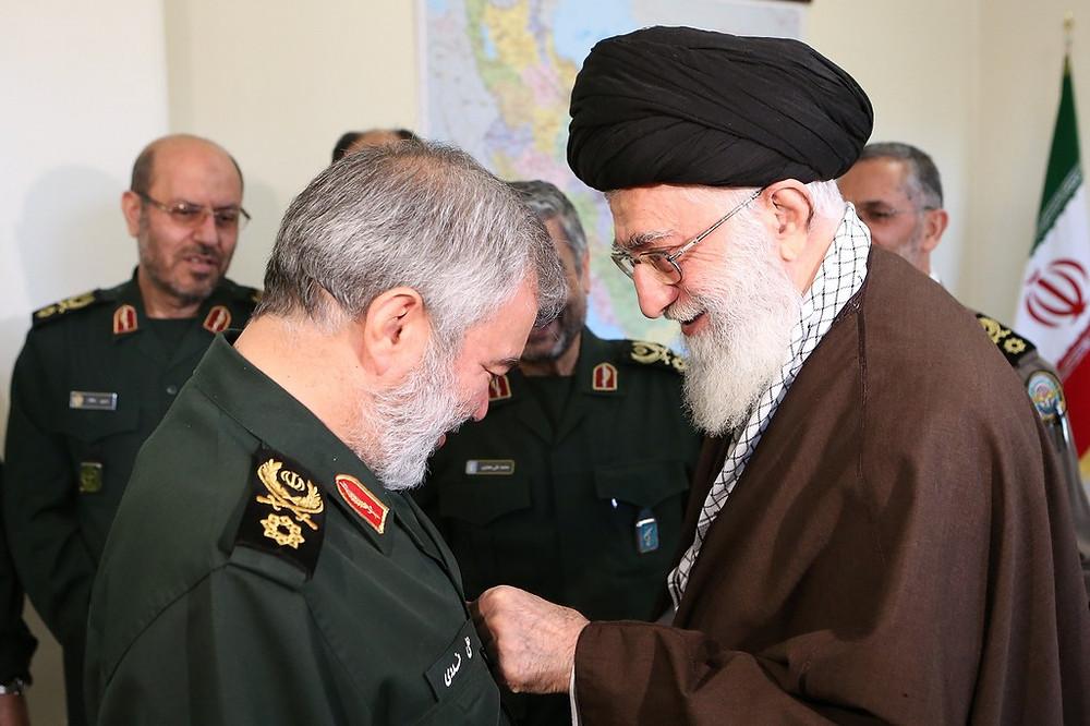 Ayatollah Ali Khamenei awards IRGC Navy commanders for abducting US sailors (Image credit: Khamenei.ir [CC BY 4.0])