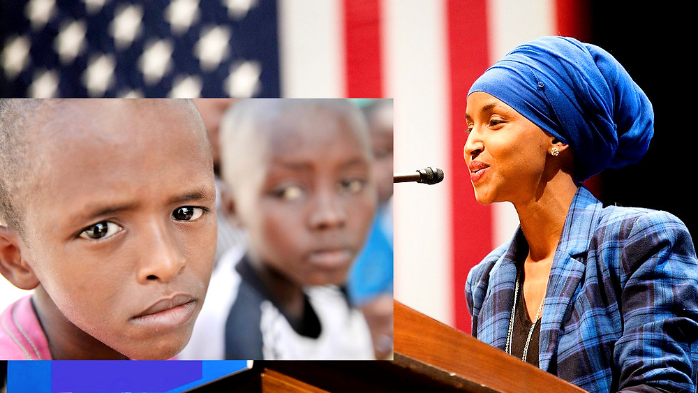 Composite Illustration: Young Somali Child at Orphans and Disabled Homeless Children's  Center by AMISOM Public Information, AU/UN IST PHOTO/David Mutua [CC0] via Flickr and US Congresswoman Ilhan Omar by Lorie Shaull - Own work [CC BY-SA 4.0] via Wikimedia