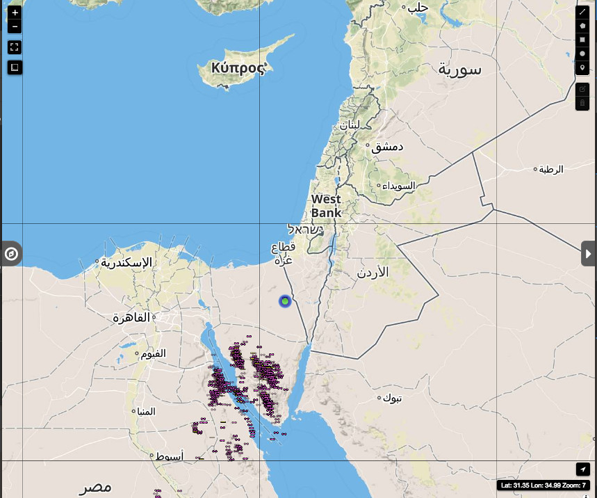 Lightning storms moving toward Eilat, Earth Networks (courtesy Dr. Barry Lynn)