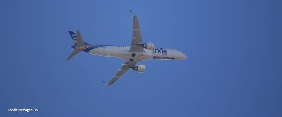 View of Arkia plane taking off from Ben Gurion Airport [Martin Sherman (Credit: Maagan TV)]