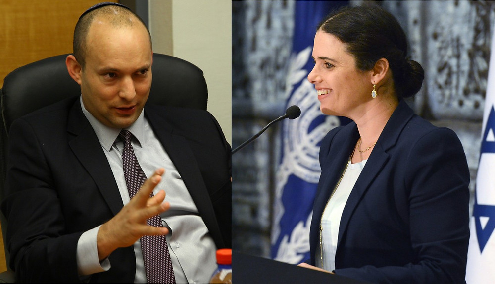 Naftali Bennett (by Maryland GovPics - Amos Gilad [CC BY 2.0]) and Ayelet Shaked (by Mark Neyman/Government Press Office of Israel)