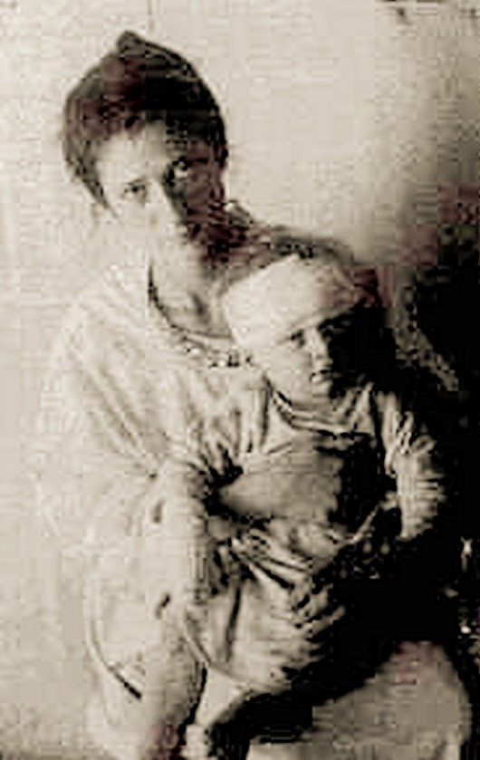 18-month-old Shlomo Slonim, Sole Survivor, Shown with Aunt, Public Domain via Eretz Yisroel.