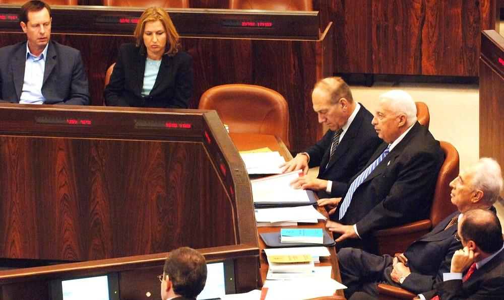 Knesset During 2004 Disengagment: Tzipi Livni, Ehud Olmert, Ariel Sharon, Shimon Peres (l. to r.) (Image credit: Moshe Milner/Government Press Office of Israel)