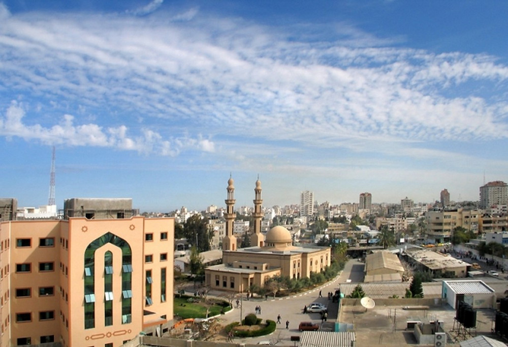 Illustration: Mosque of the Islamic University of Gaza [CC BY-SA 3.0] via Wikipedia