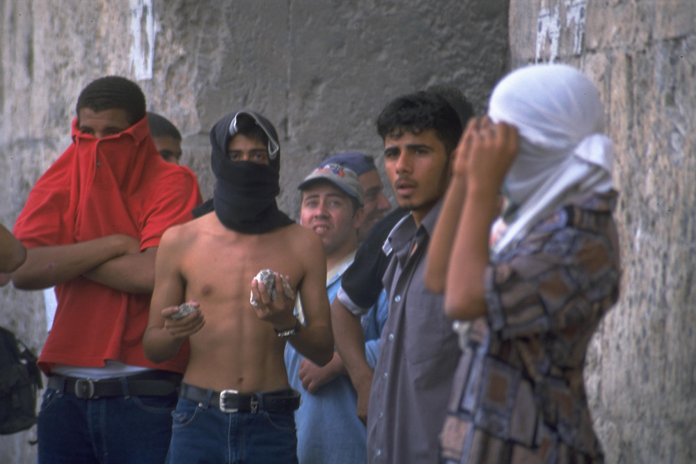 Masked Arab rioters (Image credit: Oded Balilti/Government Press Office of Israel)