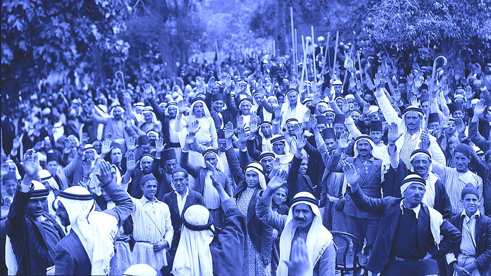 Illustration: 1936 Arabs at Abu Ghosh pledging to fight Jewish immigration by Matson Collection — US Library of Congress [Public Domain] via Wikimedia