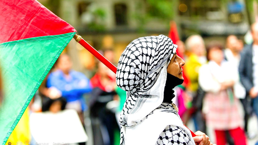 Illustration: Protester at Palestinian Rally by Gustave Deghilage [CC BY-NC-ND 2.0] via Flickr