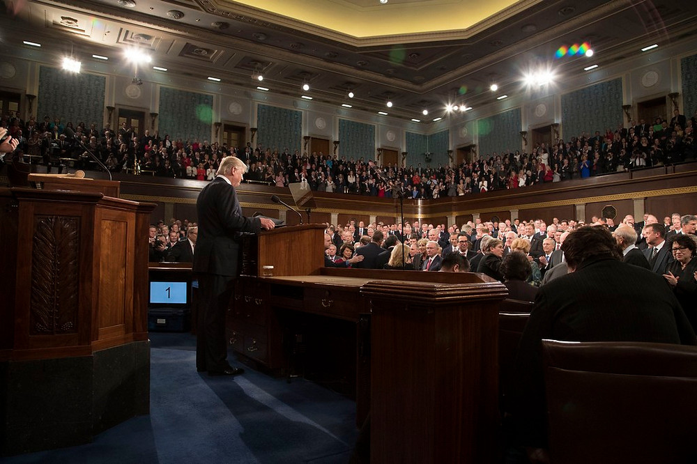 US President Donald Trump Addresses Congress by the White House [Public Domain] via Flickr