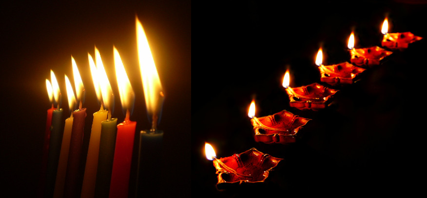 Illustration: Hanukkah Lights in the Dark by אליעד מלין - Own work [CC BY-SA 4.0] via Wikipedia; Diwali Diya Necklace by Ramnath Bhat - Flickr [CC BY 2.0] via Wikimedia