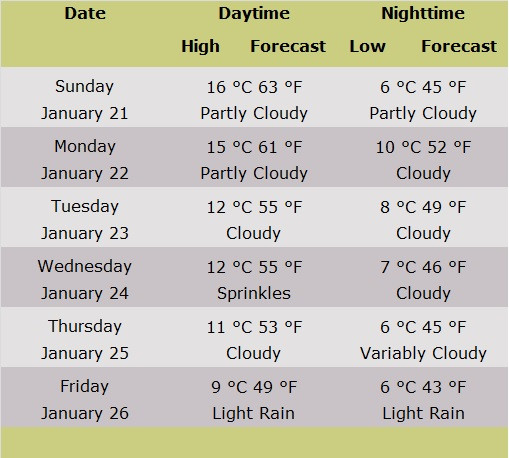 Table of Forecasts