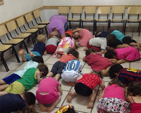 Illustration: Kindergartners take cover during a rocket alarm (Image Credit: Israel Defense Forces, CC BY 2.0, via Wikimedia