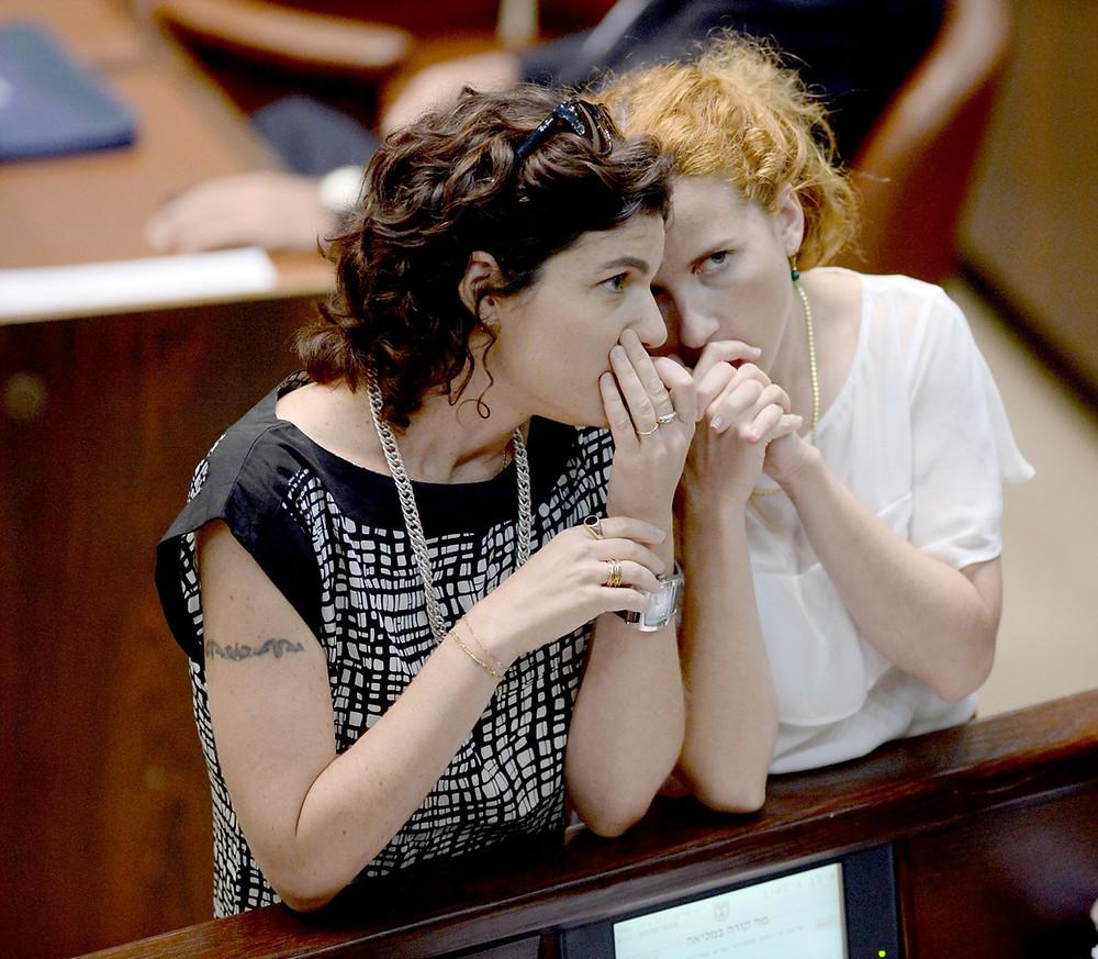 MKs Stav Shafir (Zionist Union) and Tamar Zandberg (Meretz) (Image credit: Saar Yaacov/Government Press Office of Israel)
