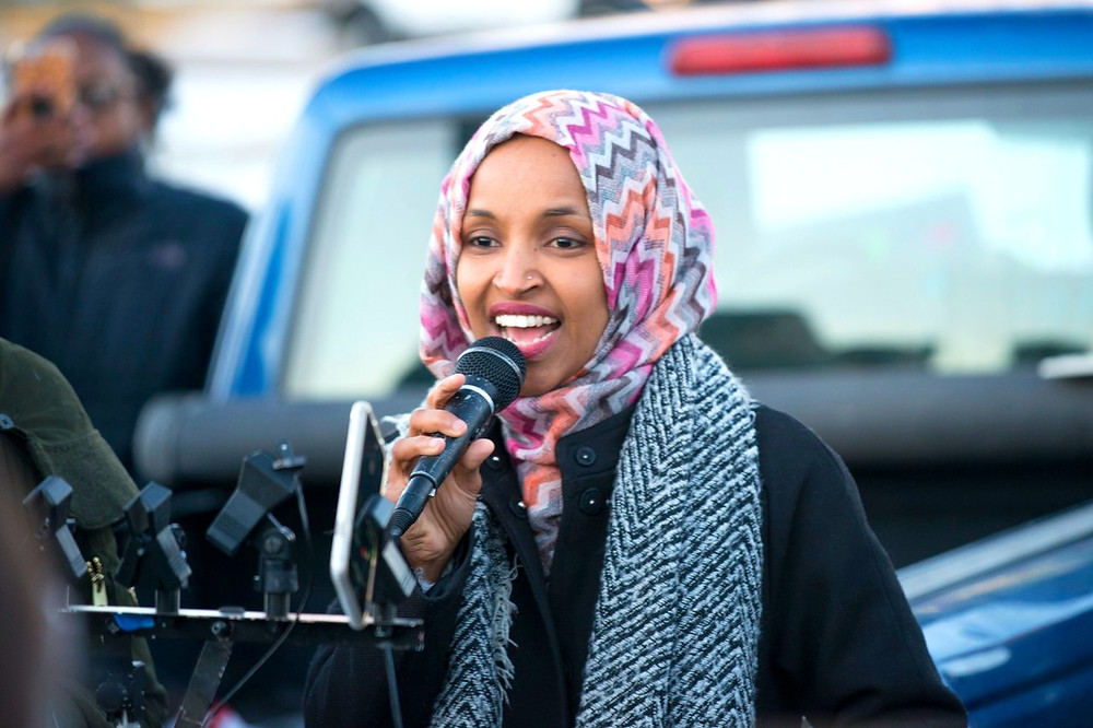 Ilhan Omar Speaking at Worker Protest Against Amazon by Fibonacci Blue [CC BY 2.0] via Flickr