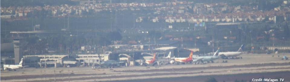 View of planes on tarmac at Ben Gurion Airport [Martin Sherman (Credit: Maagan TV)]