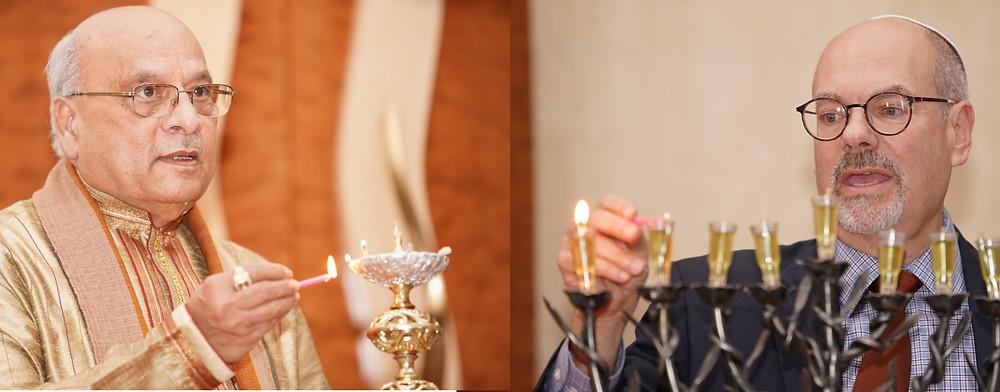 Candle Lighting by Acharya Rohit Joshi  and Rabbi Sidney Helbraun (Image credit: DEJA VIEWS USA)