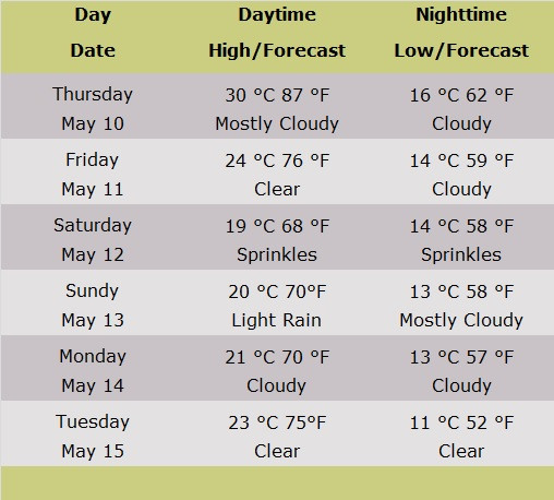 Weather Forecast Table