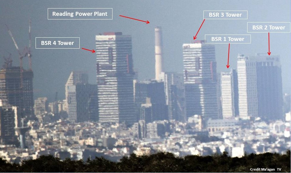View of power plant, port and the BSR Towers, Tel Aviv [Martin Sherman (Credit: Maagan TV)]