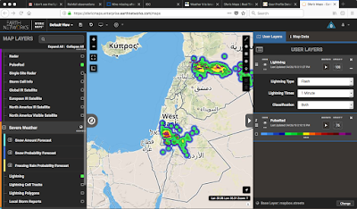 Israel Total Lightning Network Map showing rain