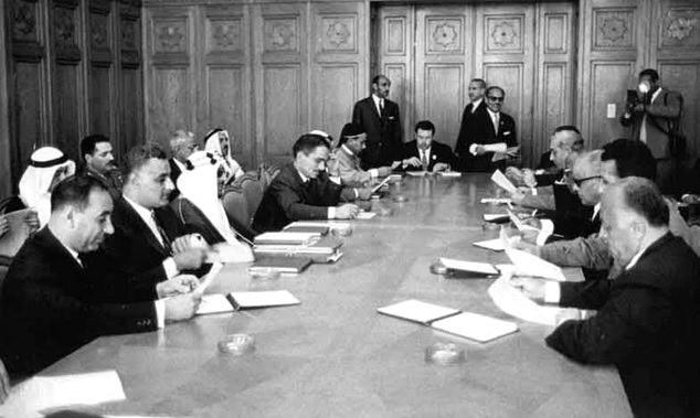 Ahmed Shukeiri (PLO) (far right) at Arab League Summit, 1964, Bibliotheca Alexandrina [Public Domain]