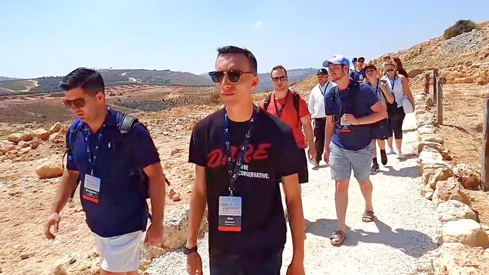 Illustration: Israel Leadership Fellows arriving at Tel Shilo, Screenshot (Boomerang's YouTube Weekly Terror Report 00:49)