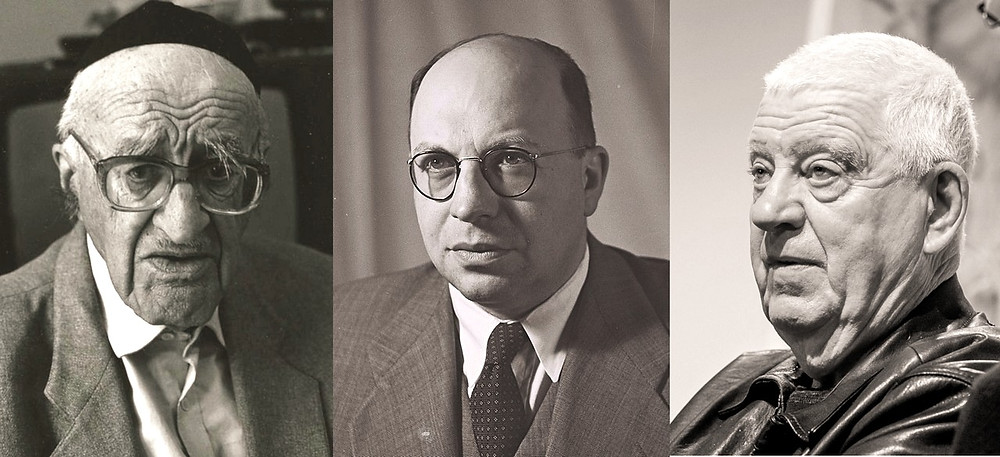Composite Illustration: Yeshayahu Leibowitz (l.) by Bracha L. Ettinger [CC BY-SA 2.5] via Wikimedia, Yosef Burg (m.) (Image credit: Teddy Brauner/Government Press Office of Israel) via Wikimedia, Uzi Baram (r.) by Shkolnik [CC BY-SA 4.0] via Wikimedia
