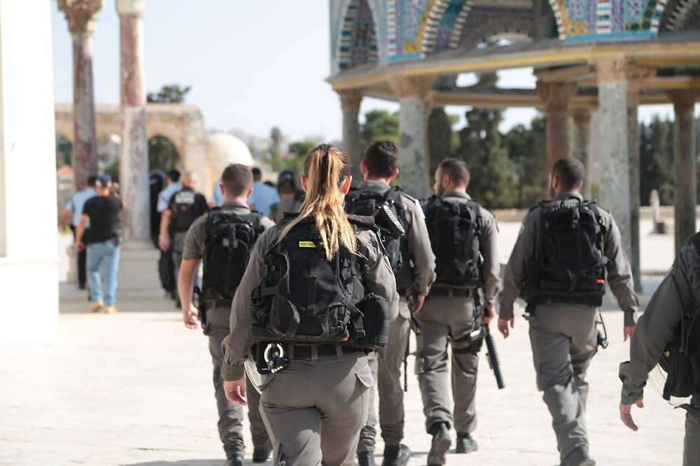 Border police respond to 7.14.17 Temple Mount attack (Image credit: Israel Police Facebook Page)