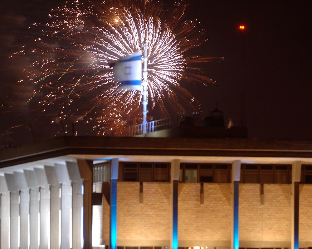 Fireworks over the Knesset (Image credit: Amos Ben Gershom/Government Press Office of Israel)