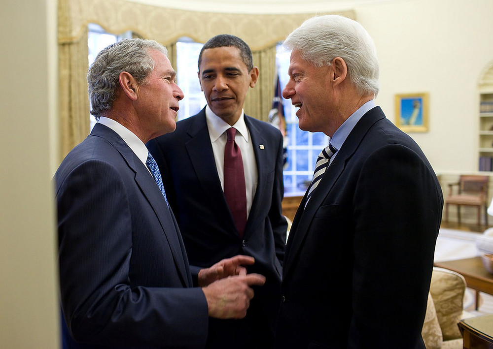 Image: US Presidents Bush, Obama and Clinton, Official White House Photo by Pete Souza (Public Domain).
