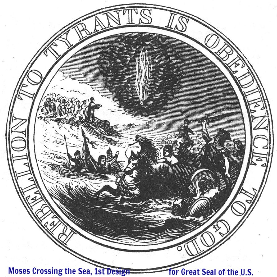 Moses Crossing the Sea, 1st Committee Design for Reverse of the Great Seal of the United States by Benson John Lossing, Public Domain