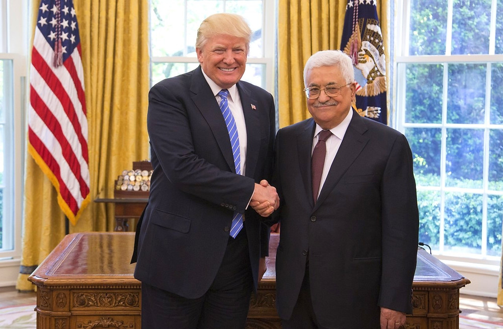 US President Donald Trump and President of the Palestinian Authority Mahmoud AbbasOfficial (White House Photo) by Shealah Craighead [Public Domain] via Wikimedia
