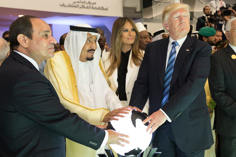 Donald and Melania Trump with King Salman and El-Sisi at new counter-terror center (Image credit: The White House from Washington, DC (President Trump's Trip Abroad) [Public domain], via Wikimedia Commons)