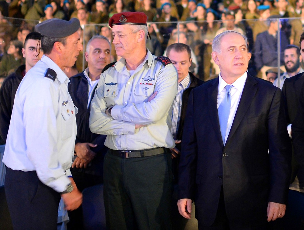 Rafi Peretz, Benny Gantz, Benjamin Netanyahu (l. to r.) (Image credit: Kobi Gideon/Government Press Office of Israel)