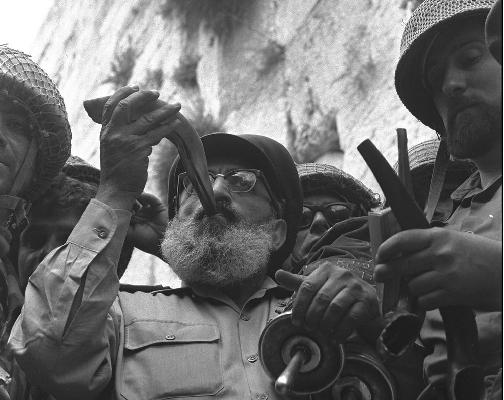 Illustration: IDF Chief Rabbi Shlomo Goren at liberation of Kotel in 1967 (Image credit: David Rubinger/Government Press Office of Israel)