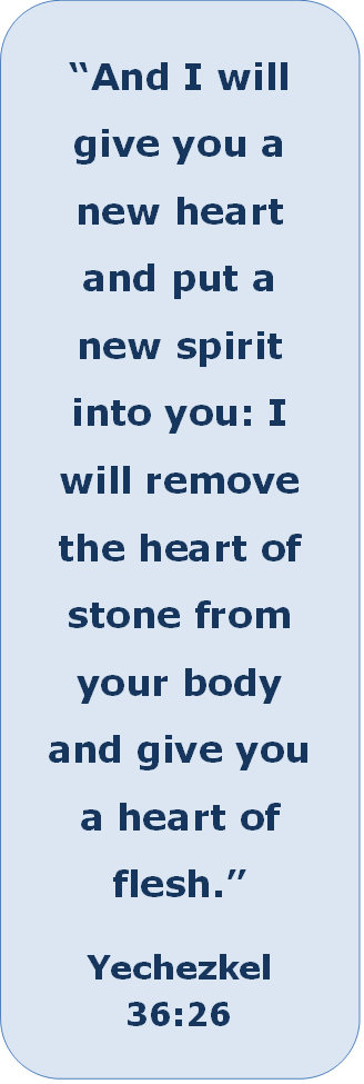 """""""And I will give you a new heart and put a new spirit into you: I will remove the heart of stone from your body and give you a heart of flesh."""" Yechezkel 36:26"""