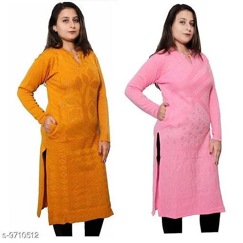 Japroz Combo Pack Of 2 Solid Woolen Kurti For Women