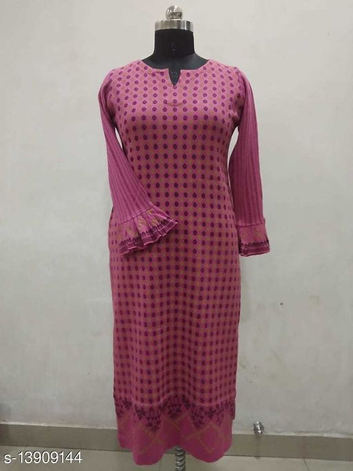 Stylish Round Neck Printed Kurti With Bell Sleeves For Women