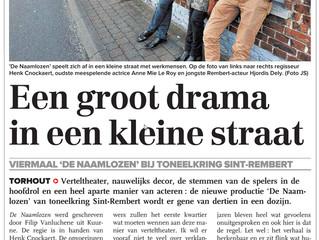 Toneelkring Sint-Rembert in De Weekbode van 4 maart 2016: De Naamlozen
