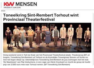 Toneelkring Sint-Rembert Torhout wint Provinciaal Theaterfestival - KW